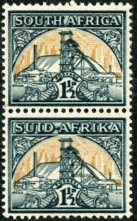 Union of South Africa 1941 Scott 52 (87) 1½d slate green & ochre 22×18 mm