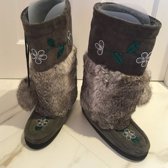 Manitobah Mukluks Suede/Fur/Beaded Vibram Boots These boots do warmth in style! They feature rabbit fur, hand beading, sheepskin lining and traction rubber soles. In excellent condition, worn once with price tag still on. Vibram Shoes