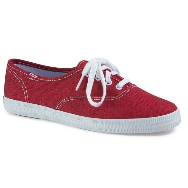 Keds Champion Women's Oxford Shoes ($45) ❤ liked on Polyvore featuring shoes, oxfords, red, round toe shoes, red oxford shoes, oxford shoes, red lace up shoes and lace up oxfords
