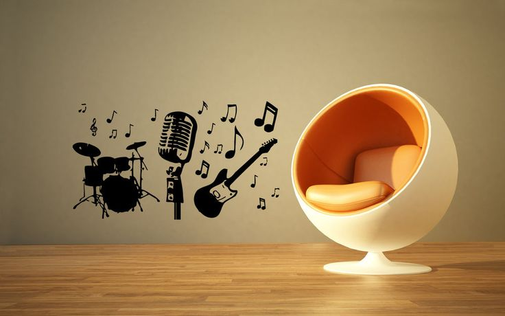 126 best Music theme decals images on Pinterest   Vinyl decals ...