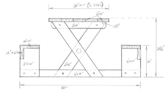 Picnic table plans - This picnic table is relative simple to build and is a nice one-piece design. These are free picnic table plans, so have fun!