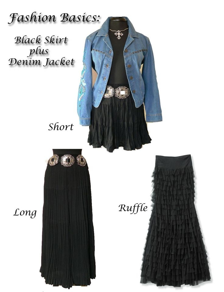 Not a fan of western belt or the ruffle skirt but this shows the versatility of a broomstick skirt/dress paired with a denim jacket.