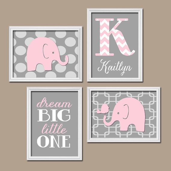 ★Elephant Pink Gray Wall Art Nursery Artwork Girl Child Custom Monogram Name Chevron Letter Bird Polka Dot Dream Big Set of 4 Prints    ★Includes 4 $42.00