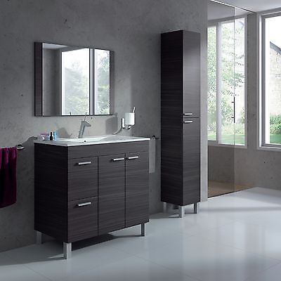 Aktiva Bathroom Vanity Unit Wash Basin Base Cabinet With Sink & Mirror Ash Grey