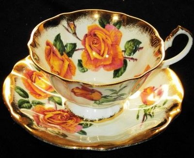 Queen Anne England Orange Roses Gold White Wide TEA CUP AND Saucer | eBay