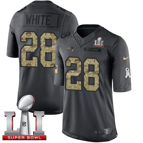 Nike Patriots #28 James White Black Super Bowl LI 51 Men's Stitched NFL Limited 2016 Salute To Service Jersey