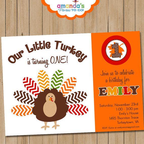 Thanksgiving Birthday Party Invitation | Thanksgiving Invitation | Fall Birthday Invitation | 1st Birthday Invite | Amanda's Parties To Go