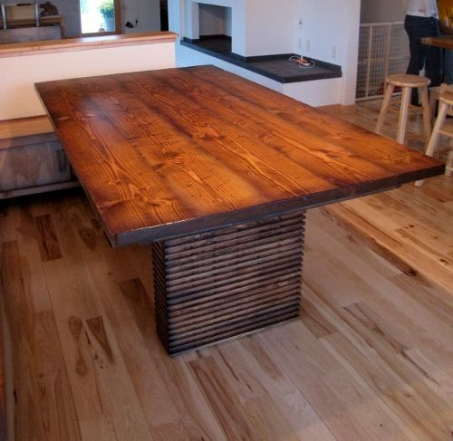 """42""""x72"""" Custom Rectangle Based Table Stained in Dark Walnut   Like this stain color!!"""
