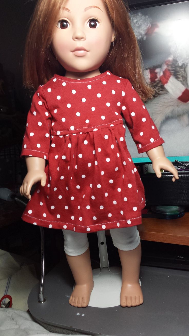 Christmas 2015 outfit. Red with white polka dots baby doll dress and calf length leggings.