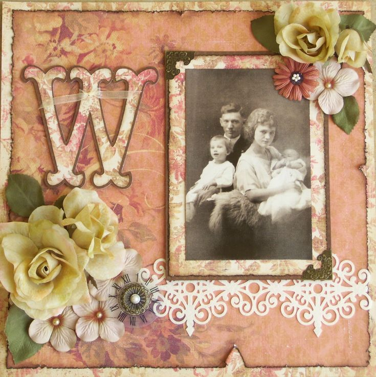 Lovely Vintage Scrapping Page...with frame & flowers...Scrapbook.com.