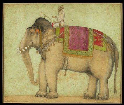 Style: Mughal; Type: Elephants, birds, and flowers; Title: 'Royal elephant with mahout', north India, c. 1660