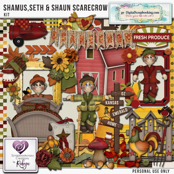 Shamus Seth & Shaun Scarecrow Kit  Exclusive to the Legacy Club for August 2017  Here on the Mornington Pensinsula we celebrate Scarecrows with the Scarecrow Hinterland Festival every September School Holidays. They are made by local artists, school groups and families. There is a trail map which you follow to find all