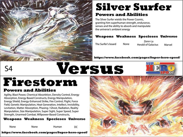 A battle that will get Galactus attention.... The Silver Surfer vs Fire Storm! WHO WILL WIN, and why? Powers, abilities, weaknesses, and weapons are posted.. #superherospoof