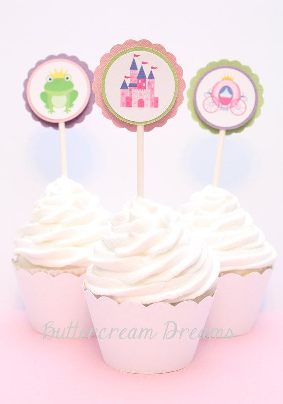 Cupcake Toppers  PRINCESS PARTY  12 by ButtercreamDreamShop, $10.00