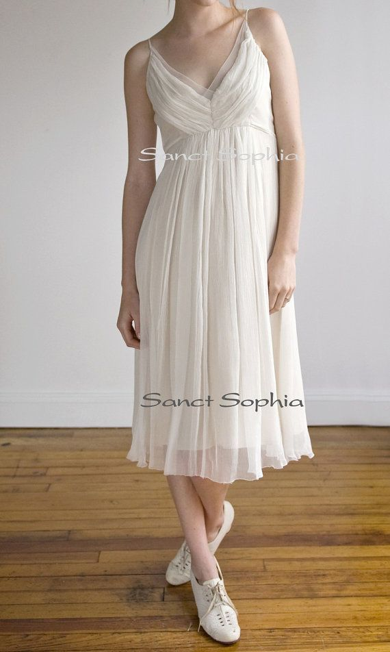 Custom short informal vintage wedding dress tea length for Etsy tea length wedding dress