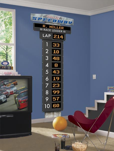 Auto Racing Scoreboard Personalized Peel and Stick Wall Mural