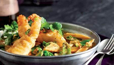 Crispy fried fish in a light curry sauce.