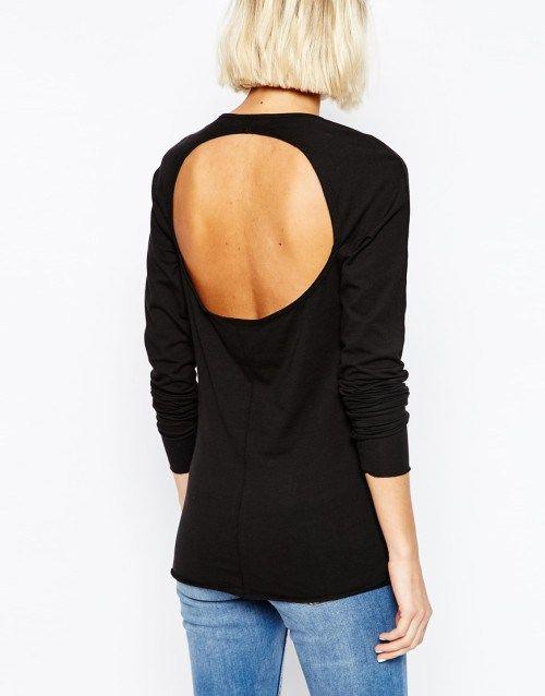 Μαύρη μακρυμάνικη μπλούζα με ανοιχτή πλάτη