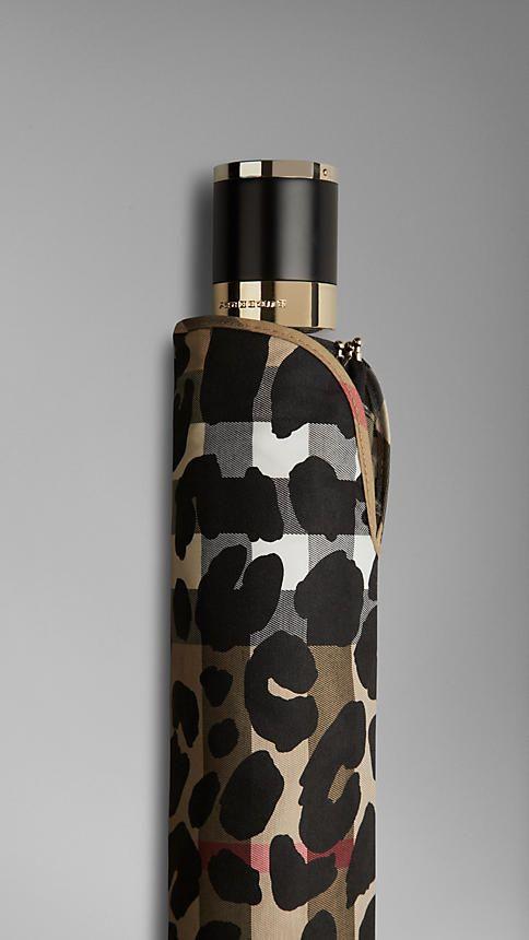 Animal Print Check Folding Umbrella | Burberry