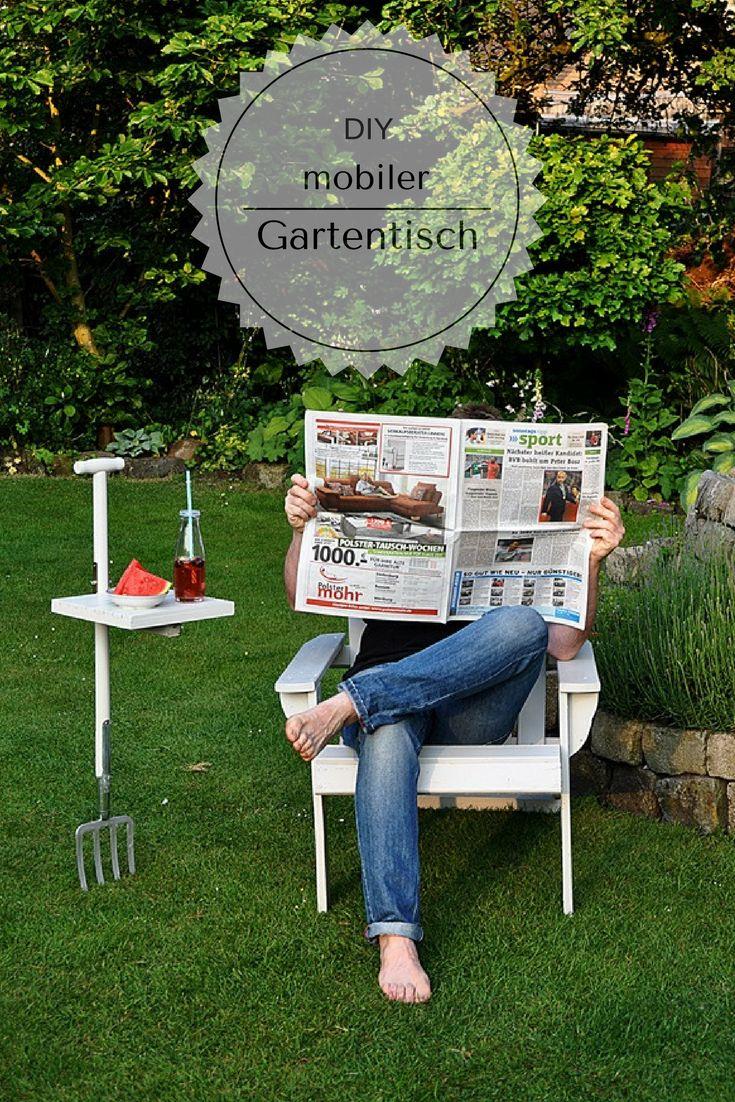Gartentisch selber bauen: mobiler Beistelltisch aus Gartenforke. DIY, Anleitung