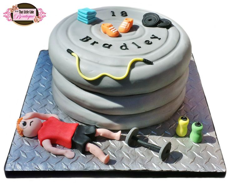 gym cake, exercise cake, dumbbell cake, weights cake, exhausted, skipping rope, jump rope, trainers,