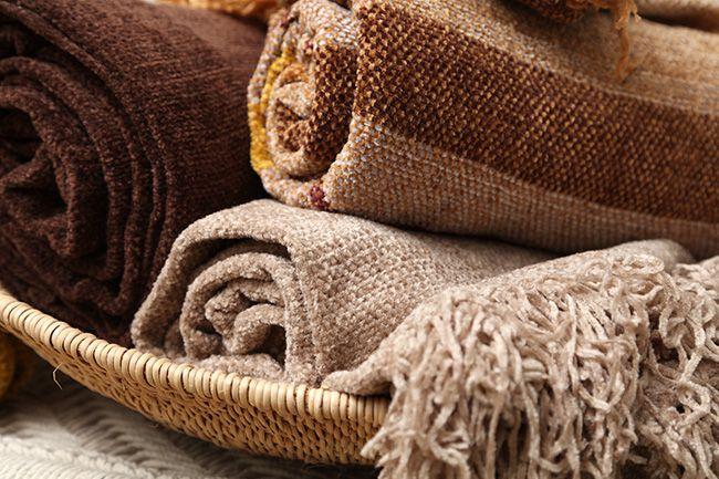 new range of sesli chenille throws in earthy tones