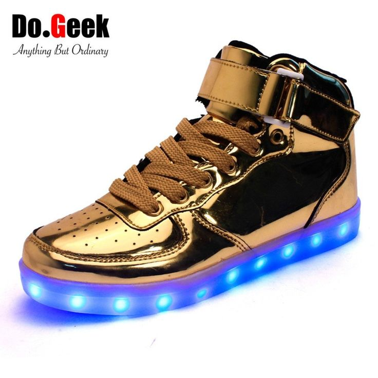 DoGeek LED Light Up Shoes Gold High Top Women and Men zapatos luces dorado Fashion LED USB Charge Silver Red Unisex Casual Shoes