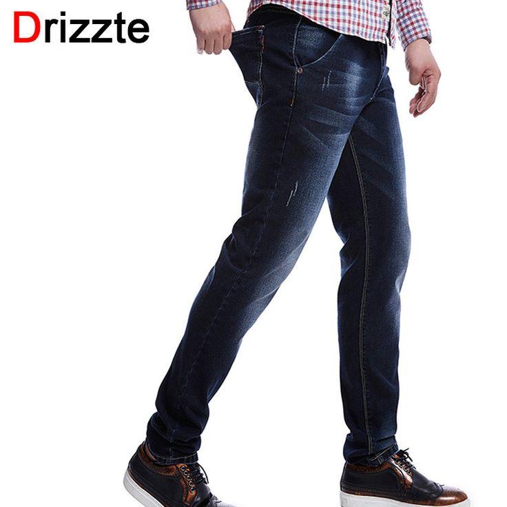 Men Jeans Stretch Dark Blue Denim Slim Cuff Long Trouser Jean Pants Trendy Men Clothing