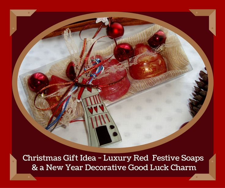 An elegant Christmas Handmade Gift Set with three red Christmas figure Luxury Royalty Scented Soaps, four small red Christmas tree balls and a lovely handmade glass Christmas Charm for Good Luck in the packaging.  The glass Christmas Charm for Good Luck is handmade by a Greek Artist and you can use it to decorate your Home or your Christmas tree, also the small red Christmas tree balls!