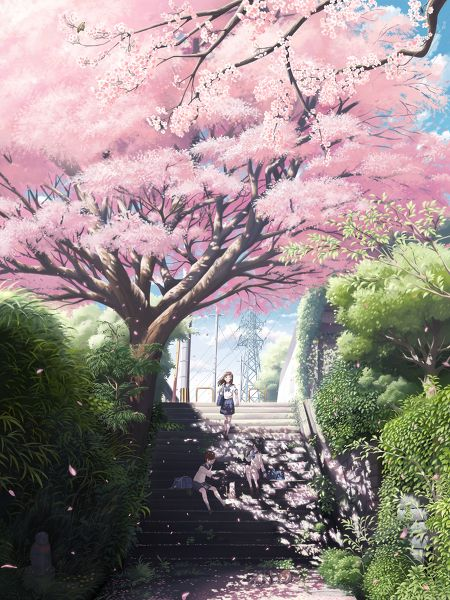 ✮ ANIME ART ✮ anime scenery. . .cherry blossoms. . .sakura. . .staircase. . .school girls. . .friends. . .flower petals. . .nature. . .kawaii