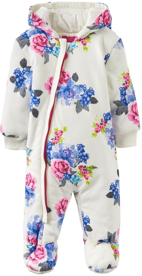 Joules Floral Cotton Coat - Cream/Tan, Size 18-24m