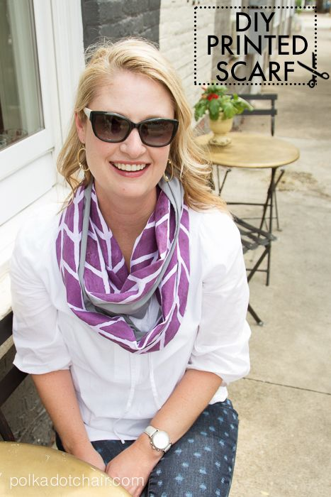 DIY Custom Printed Fabric Infinity Scarf Tutorial. See how to use a custom stencil to print a design on fabric.  Could use this technique for lots of different projects from sewing to home decor.