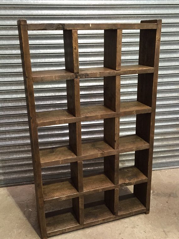 Industrial up - cycled pigeon hole shelving unit