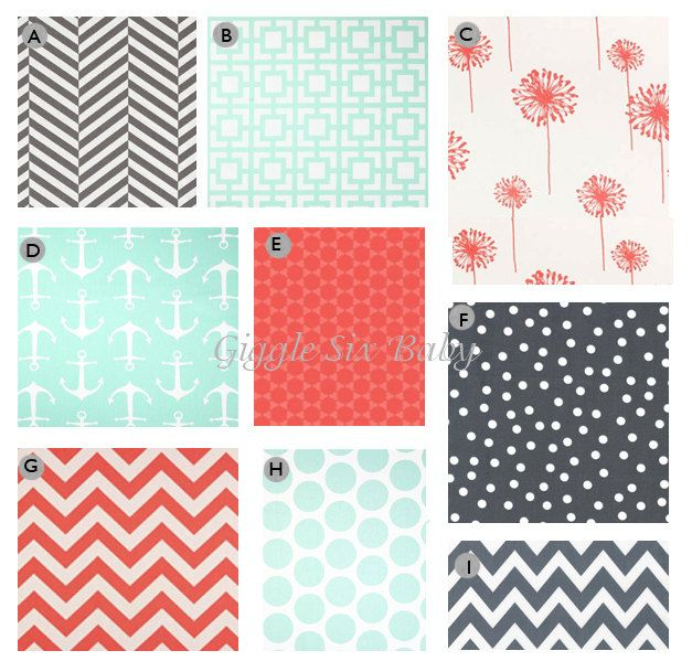 Custom Crib bedding  Grey Coral and Mint Baby by GiggleSixBaby, $255.00