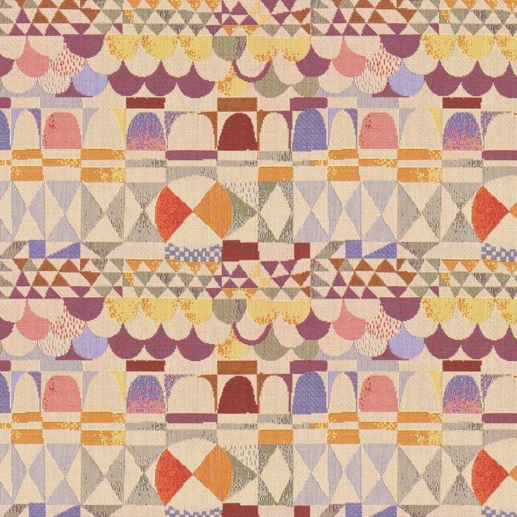 Art Deco Art Nouveau Mixed Colour Flat-Weave Curtain and Upholstery Fabric | Backhausen Art Deco Arches Light from Loome Fabrics