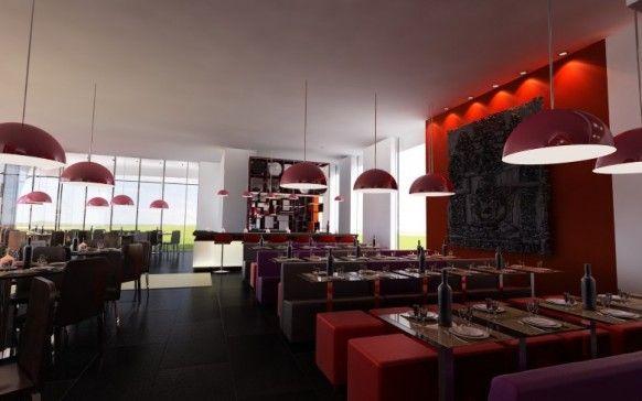 Modern Restaurant Design Red Accent Wall