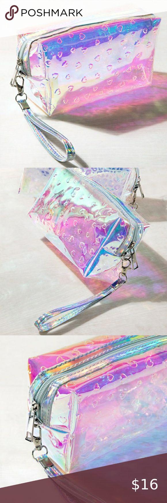 Iridescent Heart Makeup Bag New boutique item! Iridescent