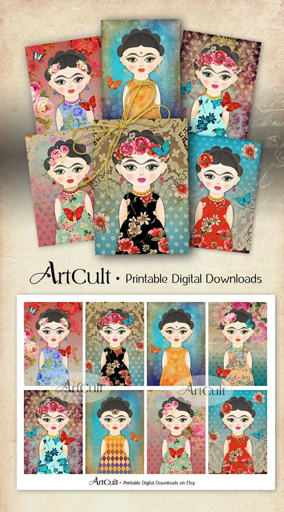 Printable art tags FRIDA KAHLO inspired, whimsical gift tags, print-it-yourself…