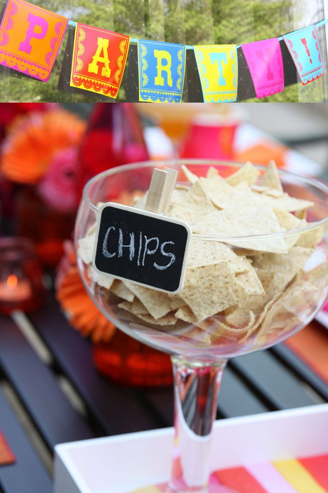 Fiesta Party with Chalkboard Labels... love the idea of chips in a margarita glass