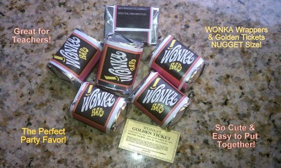 Nugget sized Willy Wonka chocolate bar wrappers & Golden Tickets