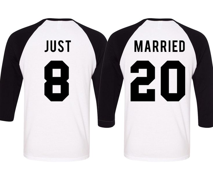 JUST MARRIED Baseball Tees Set, only $42.94 for both shirts! Click here to buy https://mrsbridalshop.com/collections/couples/products/just-married-baseball-tees-set