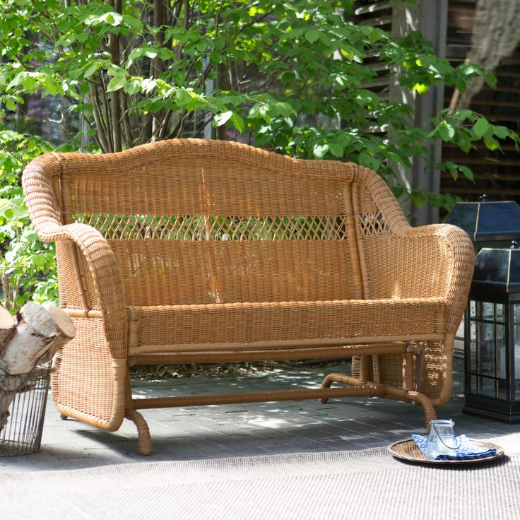 Have to have it. Coral Coast Casco Bay Resin Wicker Outdoor Glider Loveseat - $329.01 @hayneedle