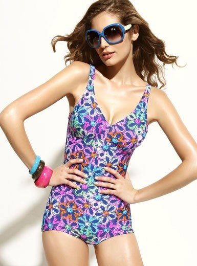 One-piece Colorful Flowers Printing  Swimwear Swimsuit @Merpher. L