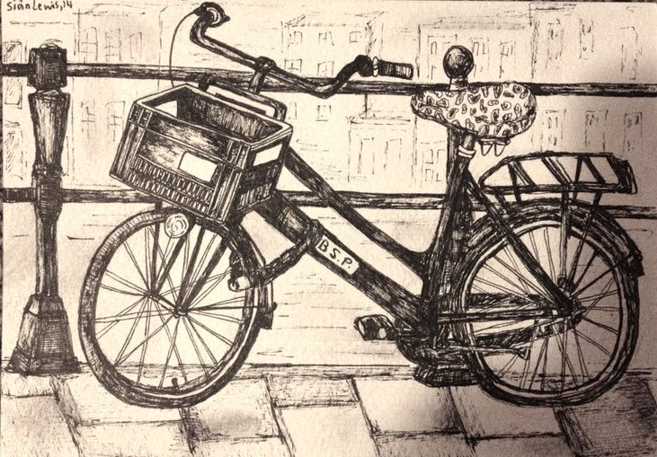 Bike sketch, Amsterdam. Bicycles in Amsterdam!