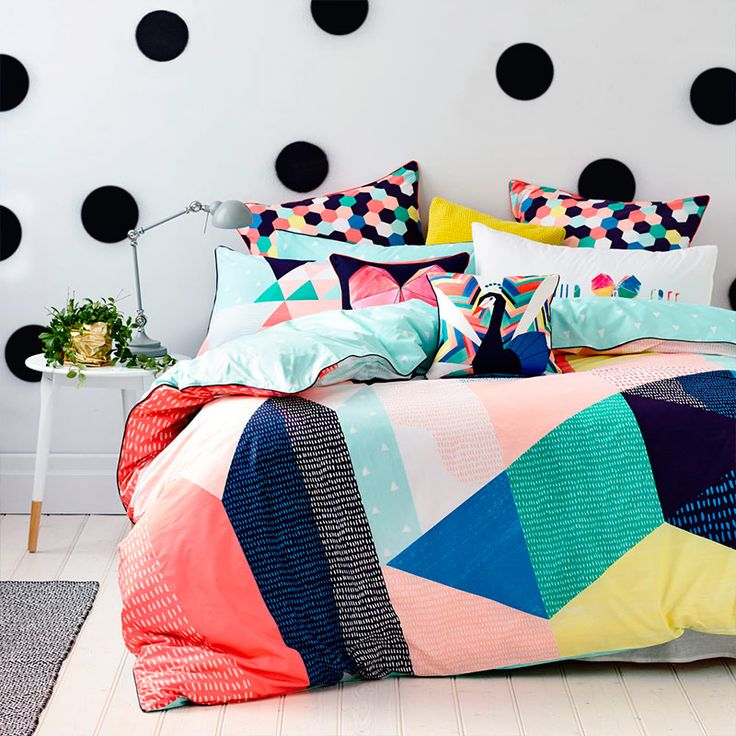 love everything about this bedroom...from textiles to wall...so much fun in one space!