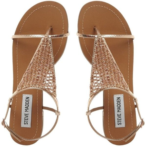 CHASITY SM Beaded Flat Sandal ROSE GOLD found on Polyvore featuring shoes, flats, sapatos, summer flat shoes, flat shoes, summer sandals, beaded flat shoes and buckle sandals