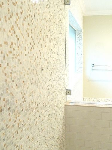 Renovation #2 - master bathroom, frameless glass shower with marble and onyx mosaic tile