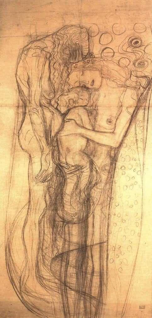 """Il genio e l'impulso creativo di Klimt nel suo bozzetto per l'opera """"Le tre età della donna"""", 1905."""
