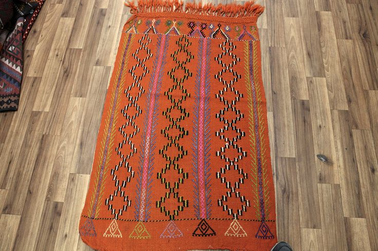 Orange Kilim Rug, Vintage Cicim Rug, Cecim Adana Kilim Rug, Turkish Cicim Kilim, Small Rug by NotonlyRugs on Etsy