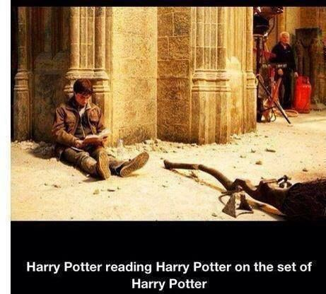 Harry Potter reading Harry Potter on the set of Harry Potter #loveit
